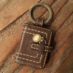 coach. leather keychain w/ photo holders and charm